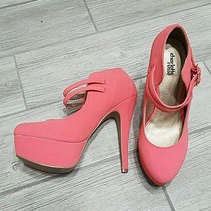 Coral pink platform heels